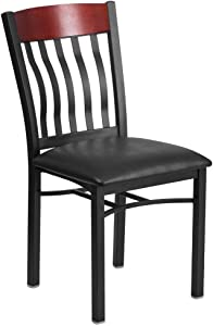Flash Furniture Eclipse Series Vertical Back Black Metal and Mahogany Wood Restaurant Chair with Black Vinyl Seat