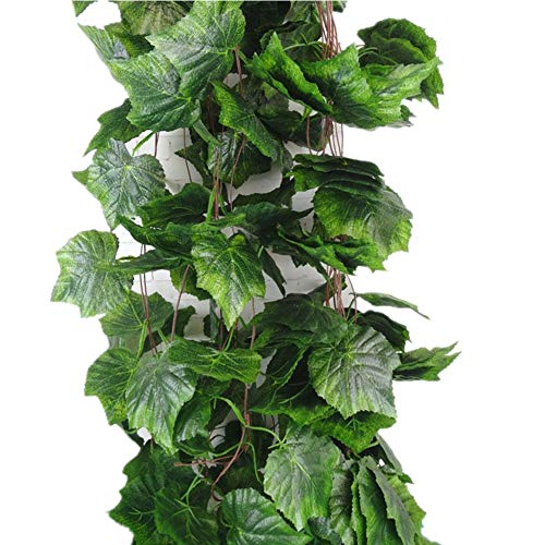 YunKo Meiliy 8 Ft Artificial Greenery Ivy Vine Plants Foliage Grape Leaves Vine Simulation Flowers Vine Garland for Home Room Garden Wedding Outside Decoration, Pack of 5