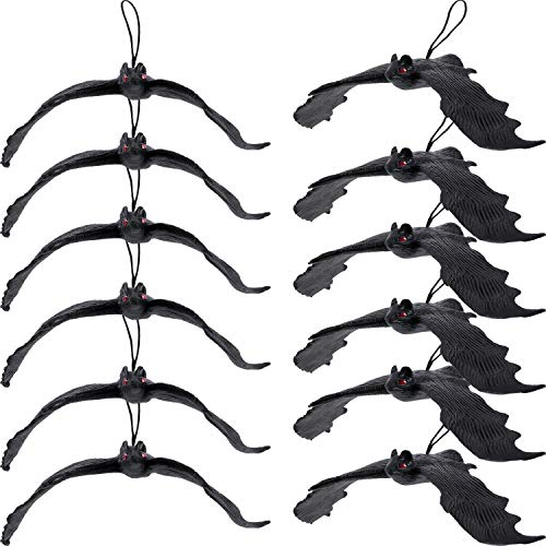 Tatuo 12 Pack Halloween Simulation Hanging Bats Realistic Looking Scary Bats Mini Size for Halloween Decoration and Party Supplies