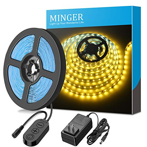 Dimmable LED Light Strip kit with UL Listed Power Supply, MINGER 300 Units SMD 2835 LEDs Flexible Strip Lights, 16.4ft 12V LED Ribbon, Non-Waterproof, 3500K Warm White Lighting Strips, DIY LED Tape