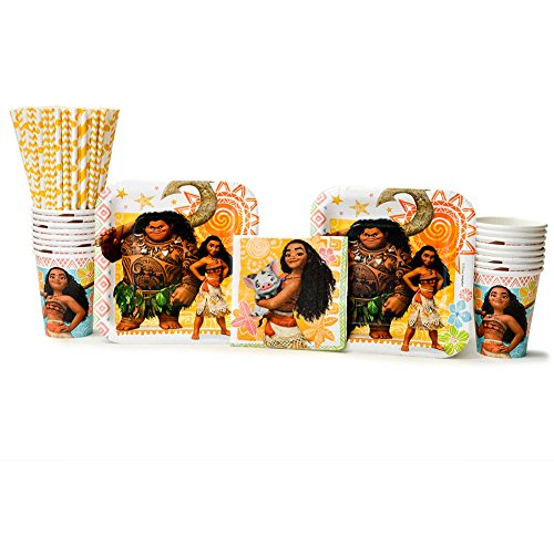 Moana Party Supplies Pack for 16 Guests - Straws, Dessert Plates, Beverage Napkins, and - Cup Maui