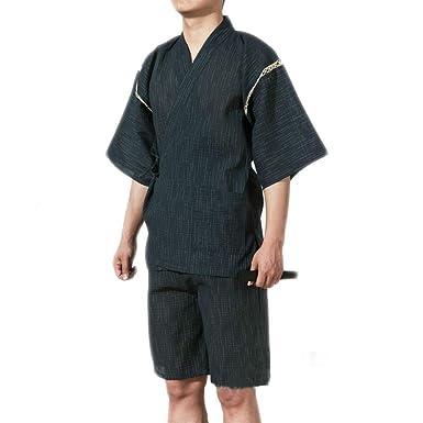 Amazon.com: Jinbei Mens Japanese Style Dressing Gown Kimono ...