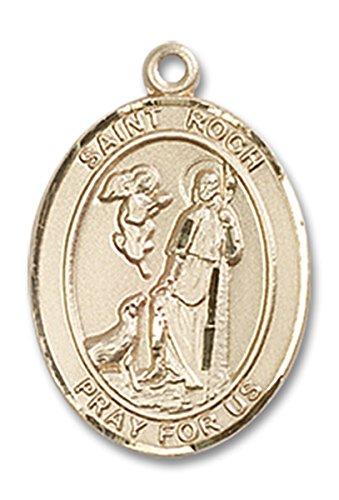14 Karat Gold Saint Roch Medal Charm Pendant, 3/4 (Roch Medal Charm Pendant)