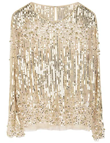 PrettyGuide Women's Sequin Blouse See Through Party Tops Beaded Sparkly Shirts XXL Gold Beige