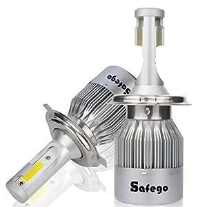 Safego 2X H4 Hi/Lo LED Faro Bombillas Alquiler de Luces LED 72W 7600Lm LED lámpara con la viruta del COB para el Coche vehículo NO CANBUS: Amazon.es: Coche ...