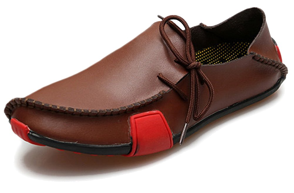 Fangsto Men's Genuine Leather Slipper Loafers Flat Shoes Slip-ONS US Size 12 Brown