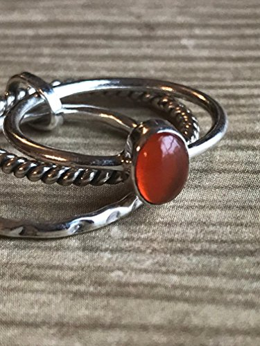 Carnelian Oval Cab Stacking Ring * 3 Stacking Rings * Gemstone Jewelry - Handmade Jewelry * Meditation Ring * Spinner ()