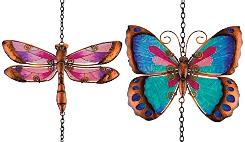 Regal Art & Gift Glass Ornament with Garden Bell Dragonfly & Butterfly for Home, Garden, Window and Wall Art (Butterfly Metal Garden Ornaments)