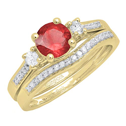Dazzlingrock Collection 10K 6 MM Round Ruby, White Sapphire & Diamond 3 Stone Engagement Ring Set, Yellow Gold, Size 7 3 Stone Ruby Diamond
