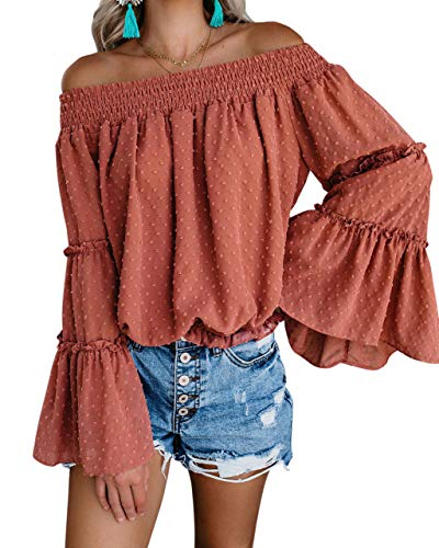 RUUHEE Women Shirred Off Shoulder Long Bell Sleeve Casual Tee Blouses Chiffon (M(US Size 6-8),Brown)