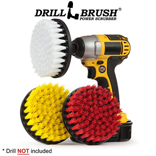 - Drill Brush - Multi-Purpose Spin Brush Combo Kit - Stiff, Soft, Medium Bristle Power Brushes - Pool Brush - Bird Bath - Granite - Leather Cleaner - Bathroom Accessories - Soap Scum, Hard Water Stains