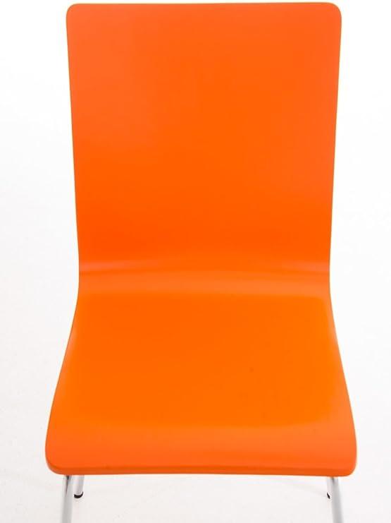 CLP Set 4 Sedie Visitatore Pepe I Sedia Attesa con Seduta in Legno E Telaio in Metallo Cromato I Sedia Ergonomica E Facile da Pulire Arancione