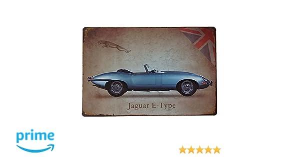 🥇 Placas Decorativas Pared Jaguar Type E ✔️ Carteles y Chapas Vintage Metálicas de Coches Deportivos