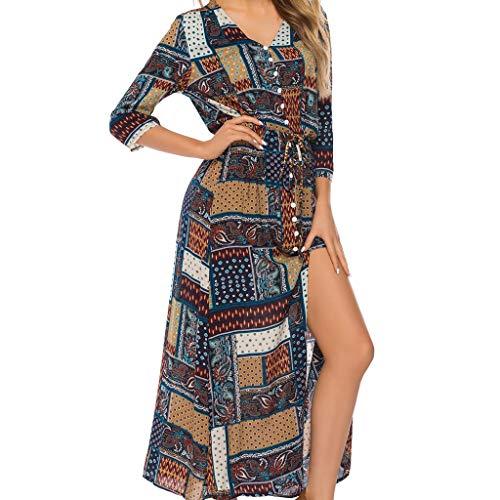 Qingell Wome Summer Bohemian Neck Tie Vintage Printed Ethnic Style Summer Shift Dress Beach Swing Dress Black