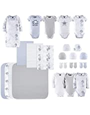 The Peanutshell Newborn Layette Gift Set for Baby Boys or Girls | 23 Piece Newborn Clothes & Accessories Set in Blue, Grey