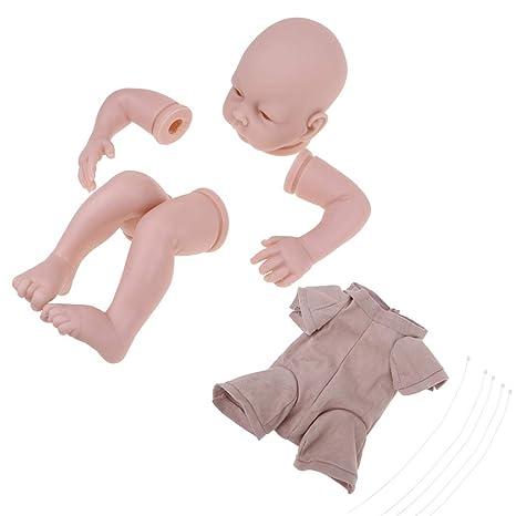 Amazon.com: Fityle Unpainted 22inch Reborn Kit Baby Doll Head 3/4 ...