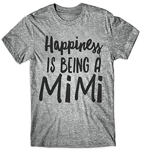 Happiness is Being A Mimi Fashion T Shirt - Petite to Plus Clothes for Worlds Best Tee Gift (XL, Grey)