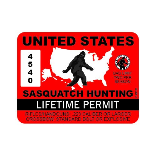 "RDW United States Sasquatch Hunting Permit - Color Sticker - Decal - Die Cut - Size: 4.00"" x 3.00"""