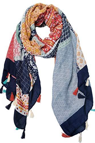 Scarfs for Women with Tassels Lightweight Shawl Wrap Scarf for Women Spring Fall Winter Womens Scarves(dark blue)