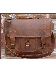 QualityArt 18 Large Leather Briefcase Mens Messenger Bag Laptop Bag Business Bag Laptop Bag