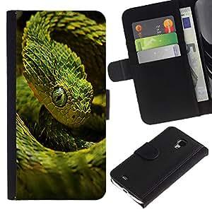 Samsung Galaxy S4 Mini i9190 (NOT S4) - Dibujo PU billetera de cuero Funda Case Caso de la piel de la bolsa protectora Para (Cool Neon Green Snake)