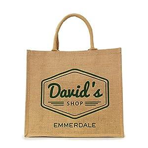 """OFFICIAL Emmerdale """"David's Shop"""" Jute Bag: Amazon.co.uk"""