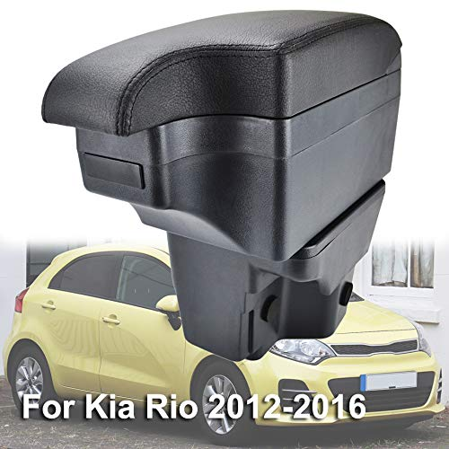 (XUKEY Dual Layer Car Armrest Fit for Kia Rio 2012-2016 Arm Rest Storage Box Black Leather)