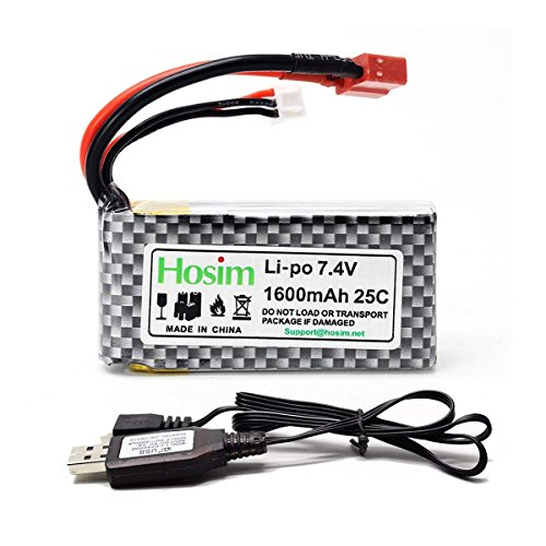 Hosim 7.4V 1600mAh RC Car Rechargeable Li-Po Battery & 1 pcs USB Charger, Spare Replacement Parts Assessory for 9125 1/10 Scale All Terrain RC Truck