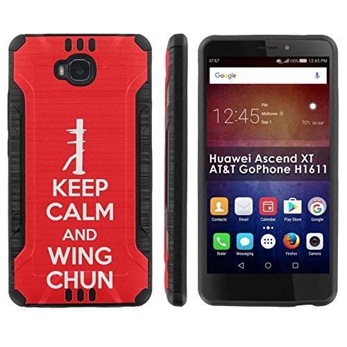 Wings Mens Xt ([Mobiflare] Huawei Ascend XT [AT&T H1611] Shock Proof Armor Phone Cover [Black/Black] Defender Protective Case - [Keep Calm and Wing Chun] for Huawei Ascend XT [AT&T GoPhone H1611] [6