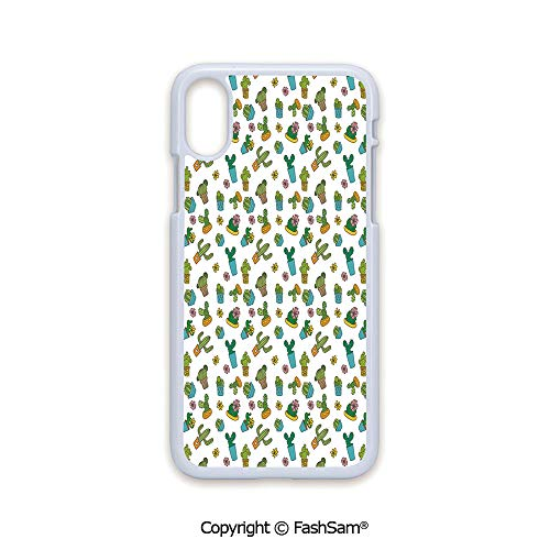 (Fashion Printed Phone Case Compatible with iPhone X Black Edge Cartoon Flower Pattern with in Pots and Vases Vintage Inspired Ornamental Design 2D Print Hard Plastic Phone Case)