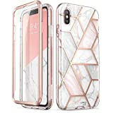iPhone Xs Case, iPhone X Case,[Built-in Screen Protector] i-Blason [Cosmo] Full-Body Glitter Bumper Case for iPhone Xs 5.8 Inch 2018 Release (Marble)
