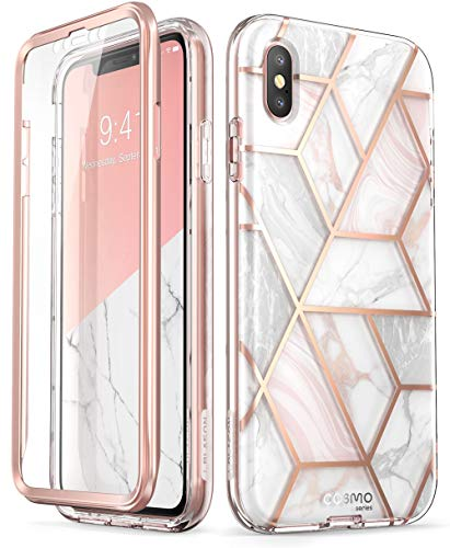 iPhone Xs Max Case, [Built-in Screen Protector] i-Blason [Cosmo] Full-Body Glitter Bumper Case for iPhone Xs Max 6.5 Inch 2018 Release (Marble) ()