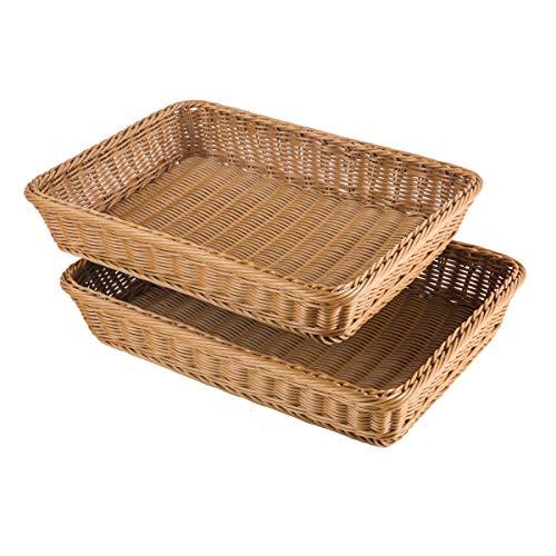 Basket Serving Square - iFlower Woven Bread Basket Tabletop Food Fruit Vegetables Serving Basket Poly-Wicker (Square,2pcs)