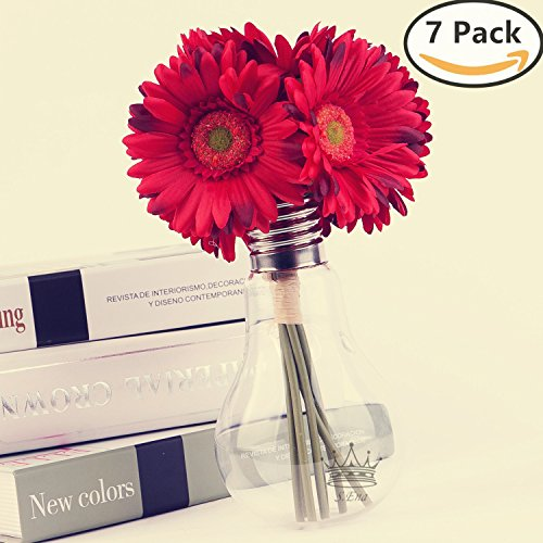 S.Ena, 1 Branch 1 Head Artificial Silk Fake Flowers Gerbera Daisy Wedding Floral Home Decor Bouquet Birthday Party DIY, Pack of 7 (Red)