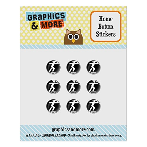 Set of 9 Puffy Bubble Home Button Stickers Fit Apple iPod Touch, iPad Air Mini, iPhone 4/4s 5/5c/5s 6/6s Plus - Sports and Hobbies - Skateboarding Skate Skater (Ipod 5 Case Skate)