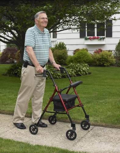 Drive Medical Adjustable Height Rollator with 6 Inches Wheels, Blue by Drive Medical (Image #4)