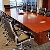 7ft - 16ft Modern Conference Table with Square Bases, Meeting Room Table, Wood (10ft w/ 2 Black Power Modules, Cherry)