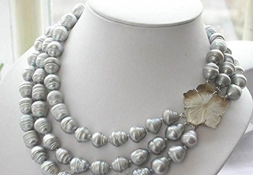 "FidgetFidget New Triple Strands 11-13mm Natural South sea Gray Baroque Pearl Necklace 20-24"""