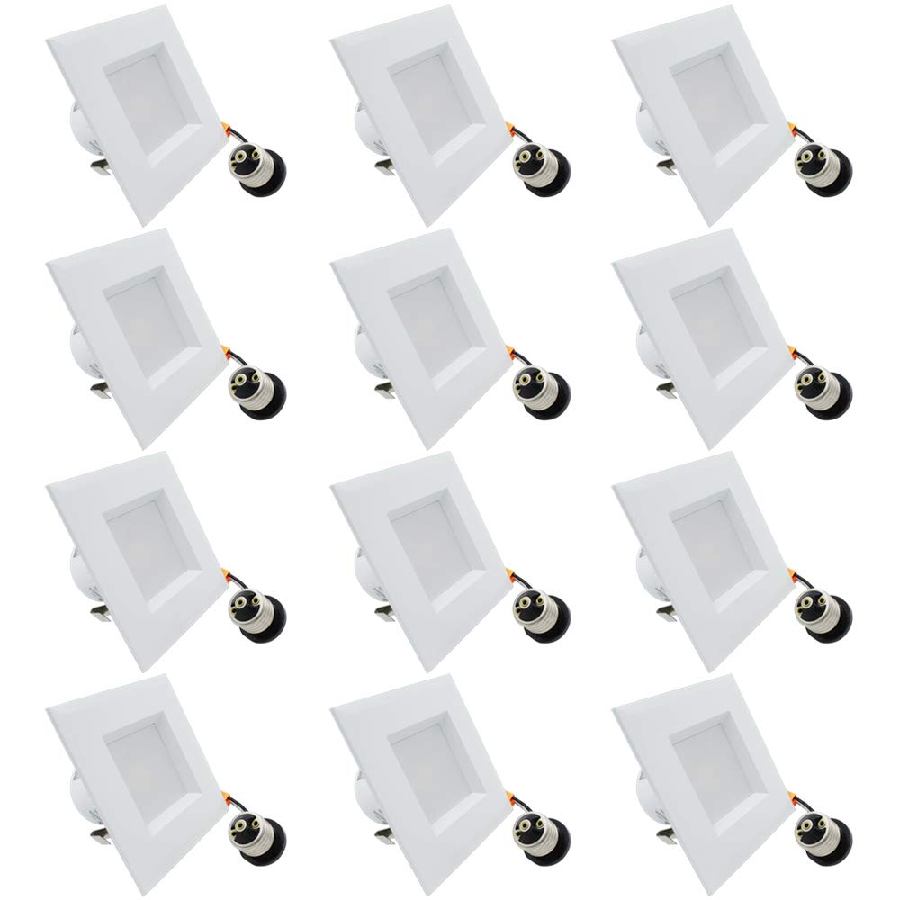 """ESD Tech 12 Pack 4"""" Inch LED Recessed Lighting Square Trim – Dimmable Downlight Retrofit Bulb Fixture, 4000K, 740 Lm, White, Smooth Design, JA-8, Energy Star, UL Listed"""