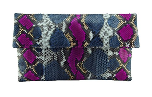 Genuine Multicolor Denim Blue and Pink Python Leather Classic Foldover Clutch Bag