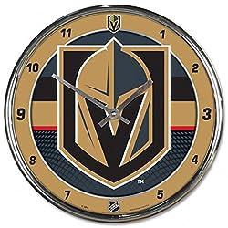 Wincraft Vegas Golden Knights 12 inch Round Wall Clock, Plastic Chrome