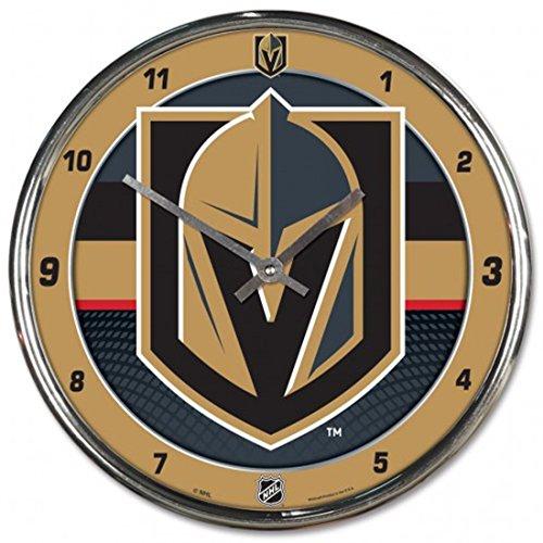 Wincraft Plastic Clock - Wincraft Vegas Golden Knights 12 inch Round Wall Clock, Plastic Chrome