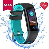 Fitness Tracker Blood Pressure Heart Rate Sleep&Monitor READ G16 Health Tracker Step Distance Calories Counter pedometer IP67 Waterproof Smart watch Call SMS SNS Remind Watch for Android IOS (skyblue)