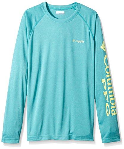 Columbia Men's Terminal Tackle Heather Long Sleeve Shirt, Miami Heather/Neon Light Logo, X-Large