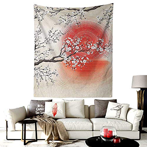 LOUTAN-Home Custom Made San Diego Tapestry,Japanese Sun and Reflection Shadow Design Patterns Cream Pearl,Printed Tapestry for Office Decoration,30W X 40L Inches Beige Brown Red -