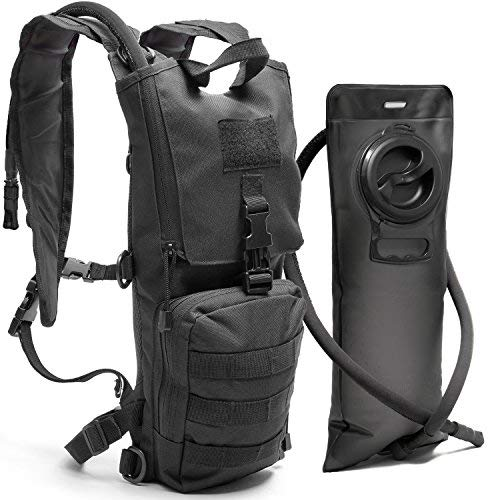 Diaz Sport Tactical Molle Hydration Pack Backpack with 3L Water Bladder. Lightweight & Durable Military Daypack Keeps Water Cold for Up to 4 Hours (Black + No Cleaning Kit Included) [並行輸入品] B07R4TKVPC