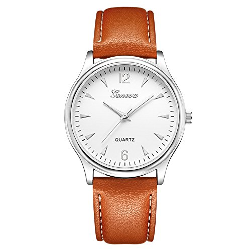 XGUMAOI Mens Faux Leather Wrist Watch Blue Ray Glass Clock Quartz Analog Watches (B)
