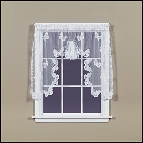 SKL Home by Saturday Knight Ltd. Butterfly Lace Panel, Swag Valance Pair, White
