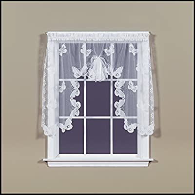 Saturday Knight SKL Home Butterfly Lace Swag Valance Pair, White, 56 inches x 38 inches - 2-piece set, 1.5 inch diameter rod pocket Use solo or coordinate with the matching panel and valance to complete the look Swags include ribbon bow detail - living-room-soft-furnishings, living-room, draperies-curtains-shades - 51RyUOFm2HL. SS400  -