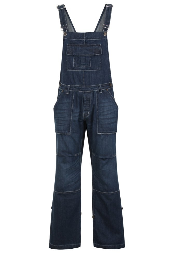G-Tuff Mens Womens Unisex Denim Dungarees Onesie All in One Piece Bib Overalls 100% Cotton - Dark Wash/Stonewash